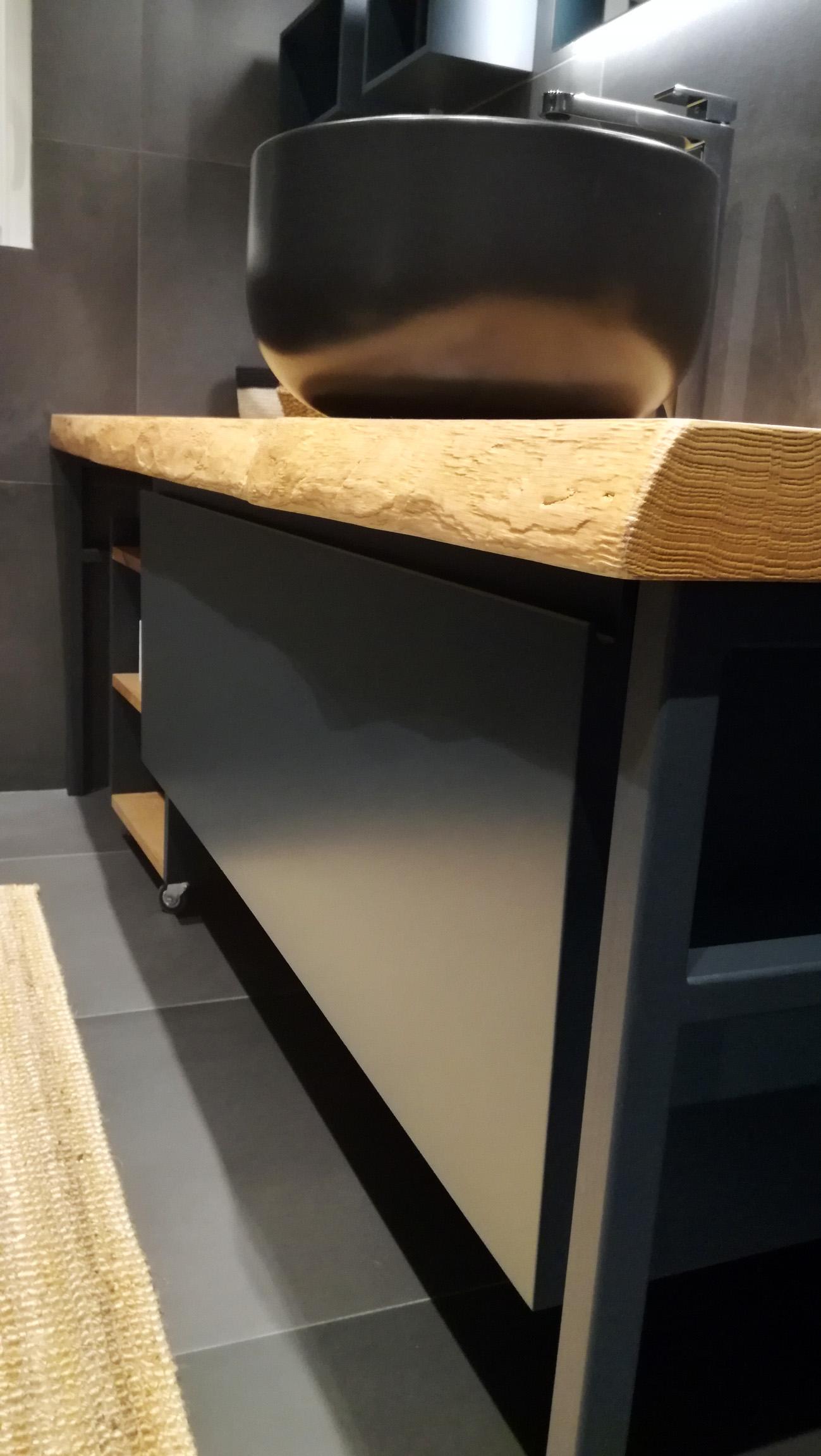 Mobile bagno industrial black con pianale in legno - Sottolavello bagno ...