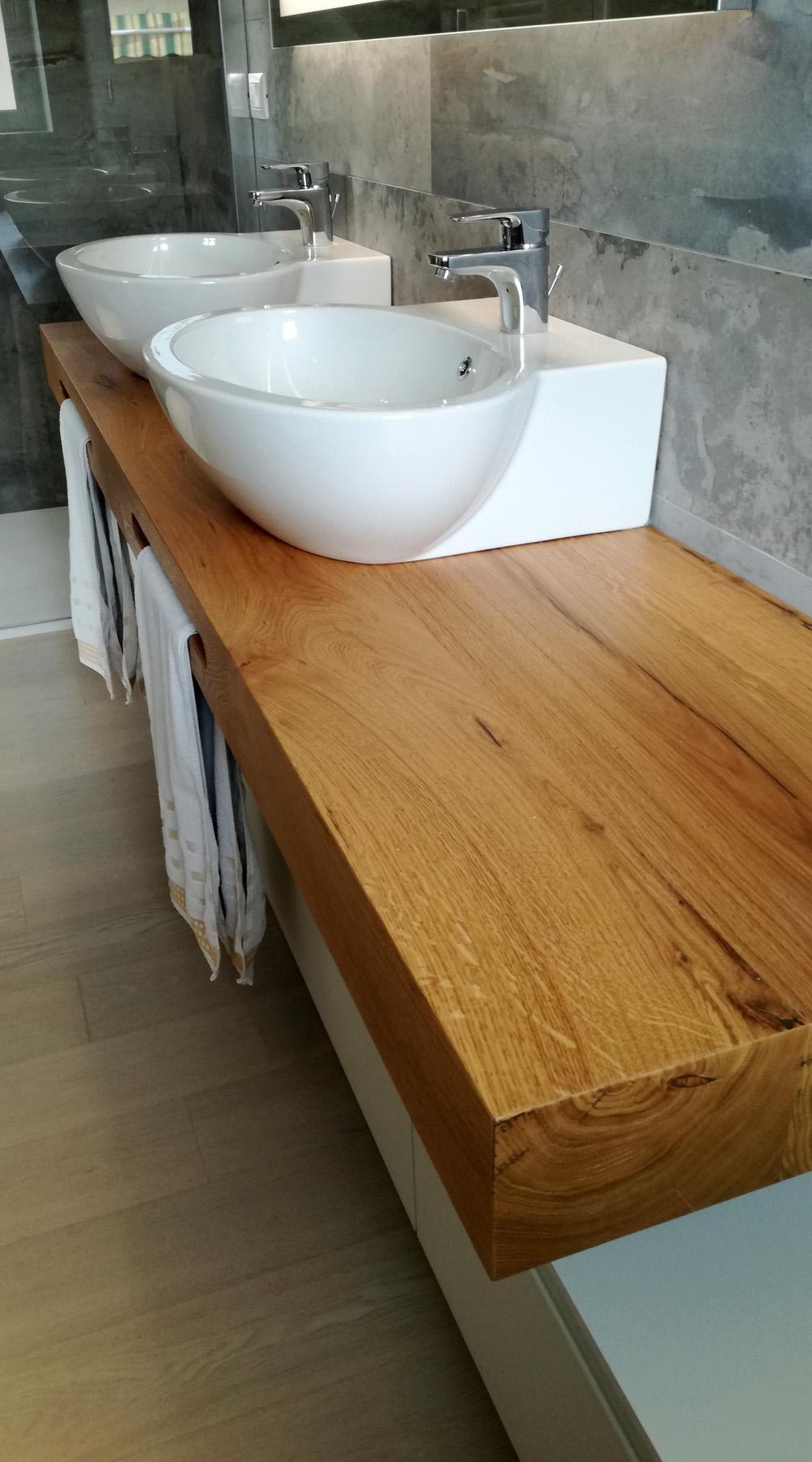 Mobile Bagno Doppio Lavabo con Mensola in Legno | Arredamenti Barin