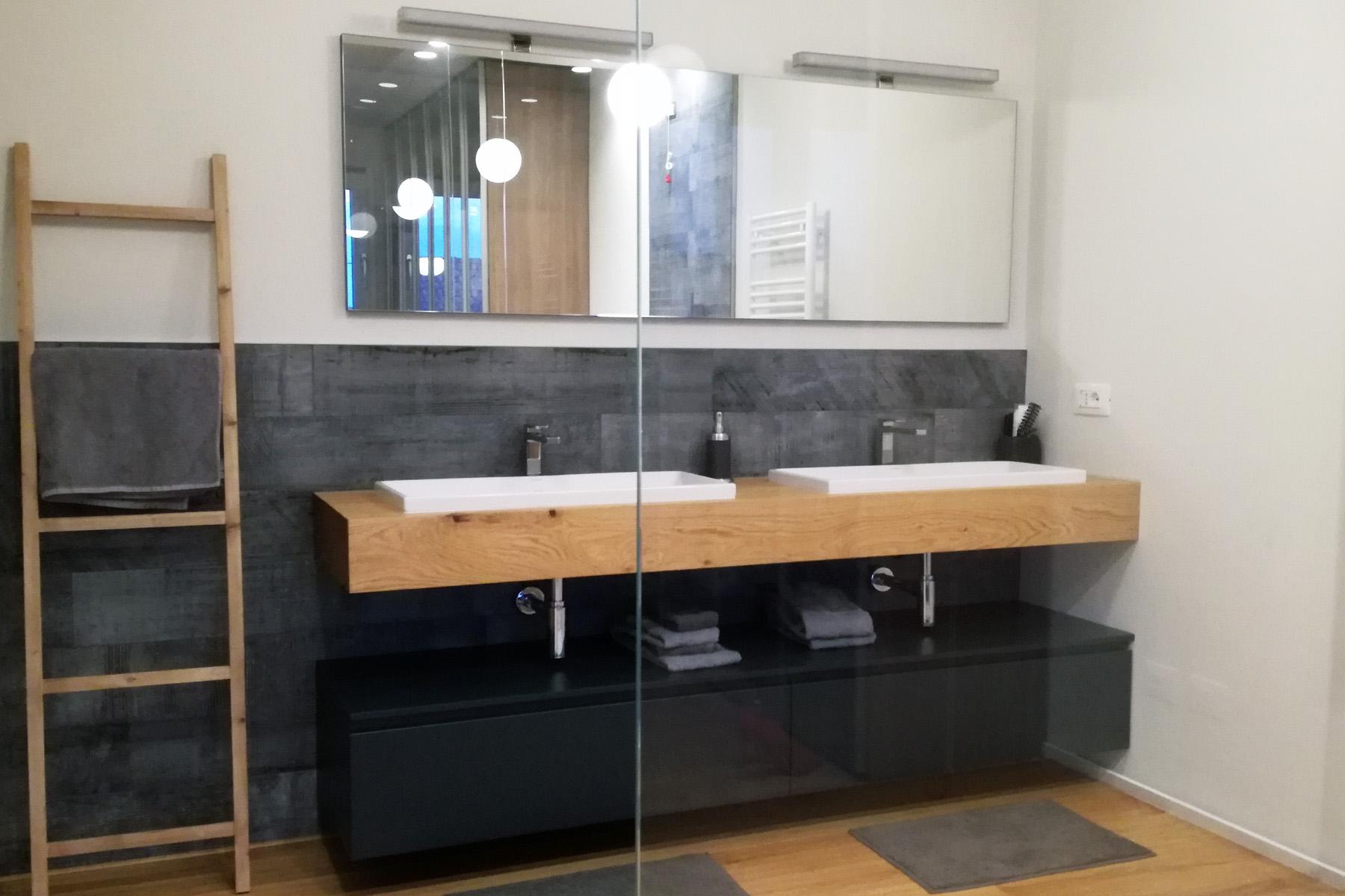 Mobile bagno con mensola in legno doppio lavabo arredamenti